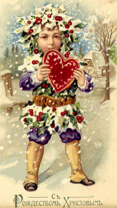 Старинные рождественские открытки: 35 трогательных изображений, фото № 19
