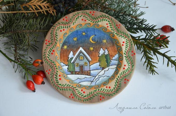 мастер-класс, ручная работа, деревянная тарелка, новогодний сувенир