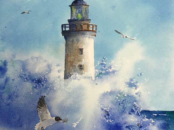Акварель море Маяк «Среди волн» | Ярмарка Мастеров - ручная работа, handmade