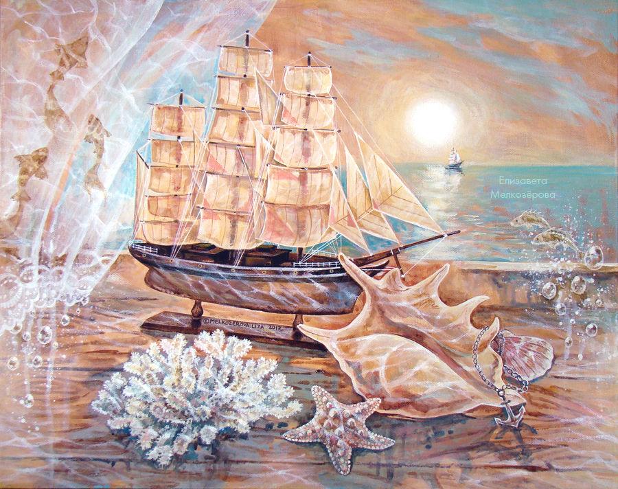 море морская волна, алые паруса ассоль, картина для интерьера