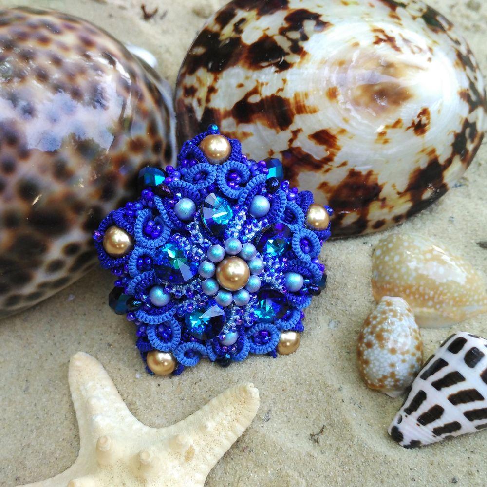 кристаллы, кружево, бисероплетение, морская тема