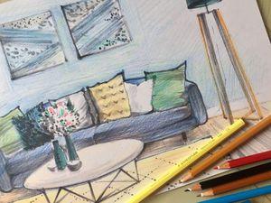 Рисуем интерьерный скетч цветными карандашами. Ярмарка Мастеров - ручная работа, handmade.