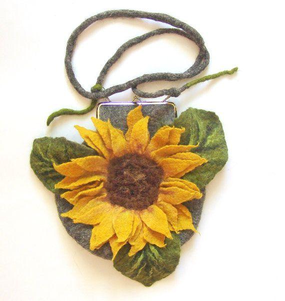 Felted handbag flower Sunflower #clutch #felted handbag #bag #sunflower #felt #wool #flower $69.00