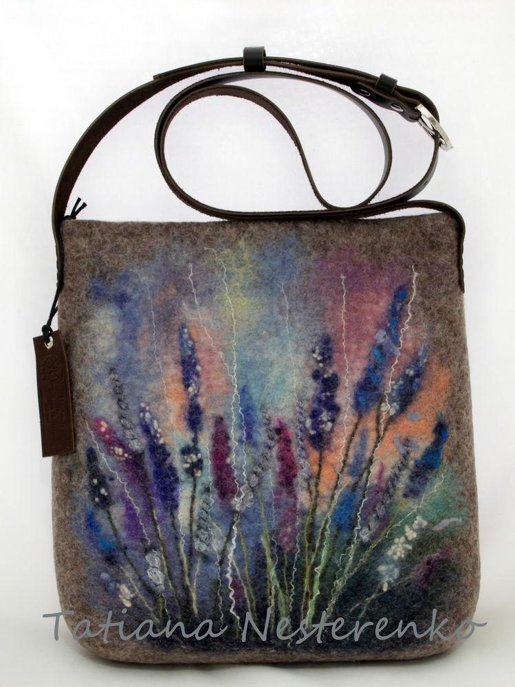 валяная сумка, цветы, натуральная кожа