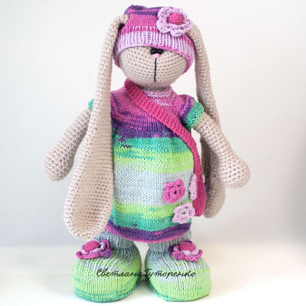 заяц, вязаная игрушка