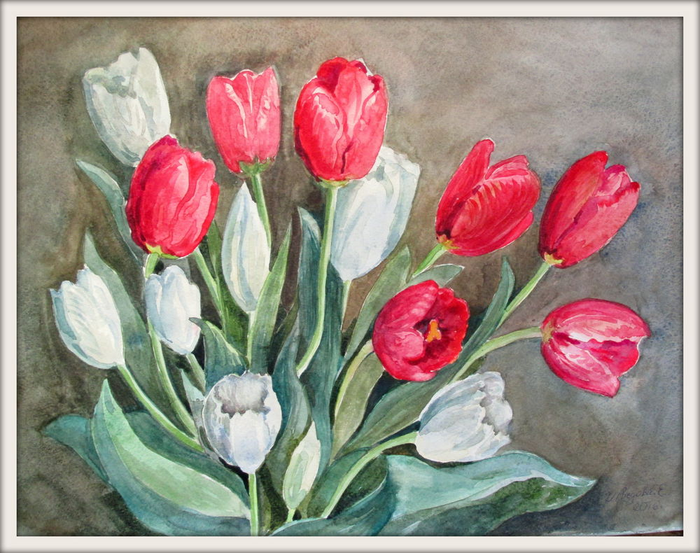 акварель, акварельная живопись, цветы акварелью, букет цветов, тюльпаны, красный цвет, тюльпан, белый цвет, белый цветок, авторская акварель, купить в москве, акварельная картина, ярмарка мастеров