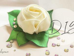 Делаем розу из атласных лент на зажимах. Ярмарка Мастеров - ручная работа, handmade.