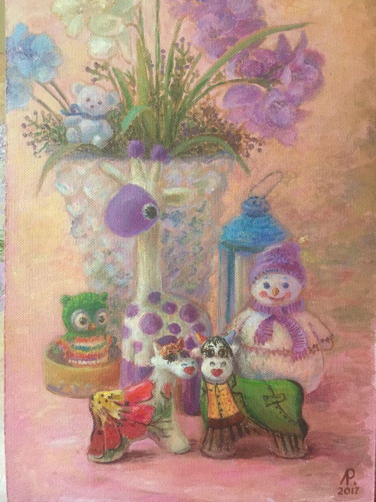 картина на заказ, картина в детскую, творим с детьми, картина в подарок, картина с игрушками, картина с цветами