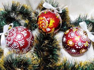 Новогодние шары в технике точечной росписи. Ярмарка Мастеров - ручная работа, handmade.