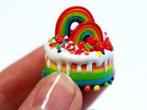 Видео мастер-класс: создаем миниатюрный радужный торт. Ярмарка Мастеров - ручная работа, handmade.