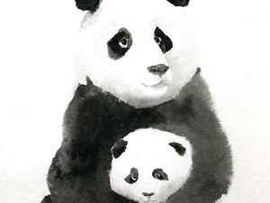 Рисуем тушью панду. Ярмарка Мастеров - ручная работа, handmade.