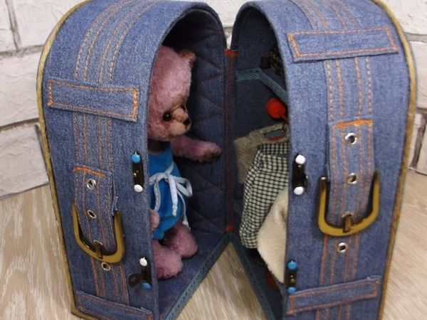 Джинсовый кофр для Мишки Марка | Ярмарка Мастеров - ручная работа, handmade