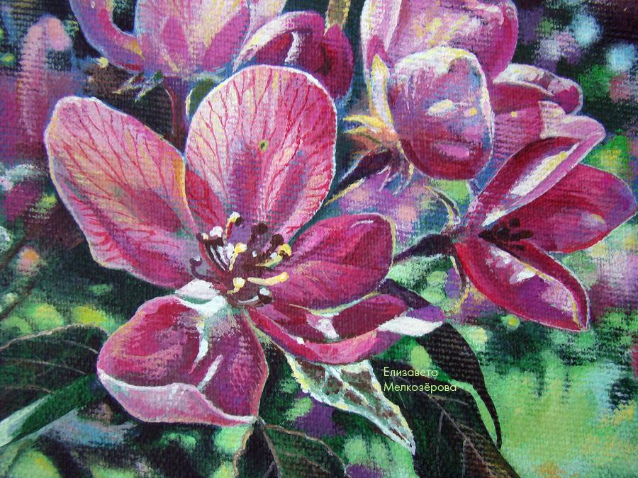 весенний цветущий сад, живописный яркий, украшение интерьера, праздник праздничный, мелкозёрова елизавета