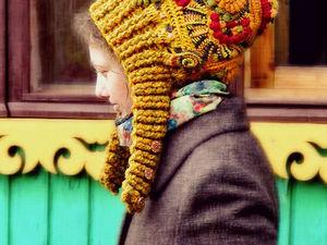 Анонс вебинара: Вязаная шапка — капюшон в технике фриформ крючком. Ярмарка Мастеров - ручная работа, handmade.