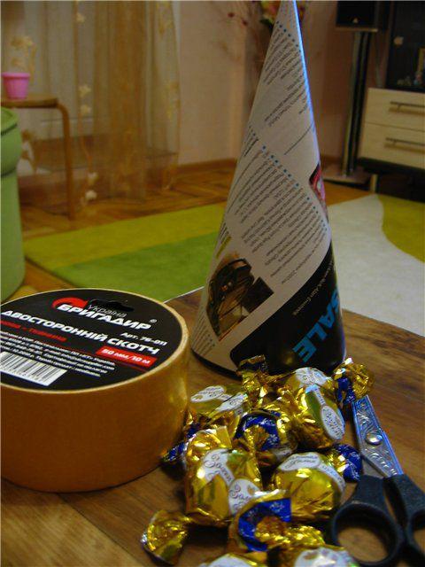 сладкая елочка, елка, ёлка из конфет, украшение интерьера