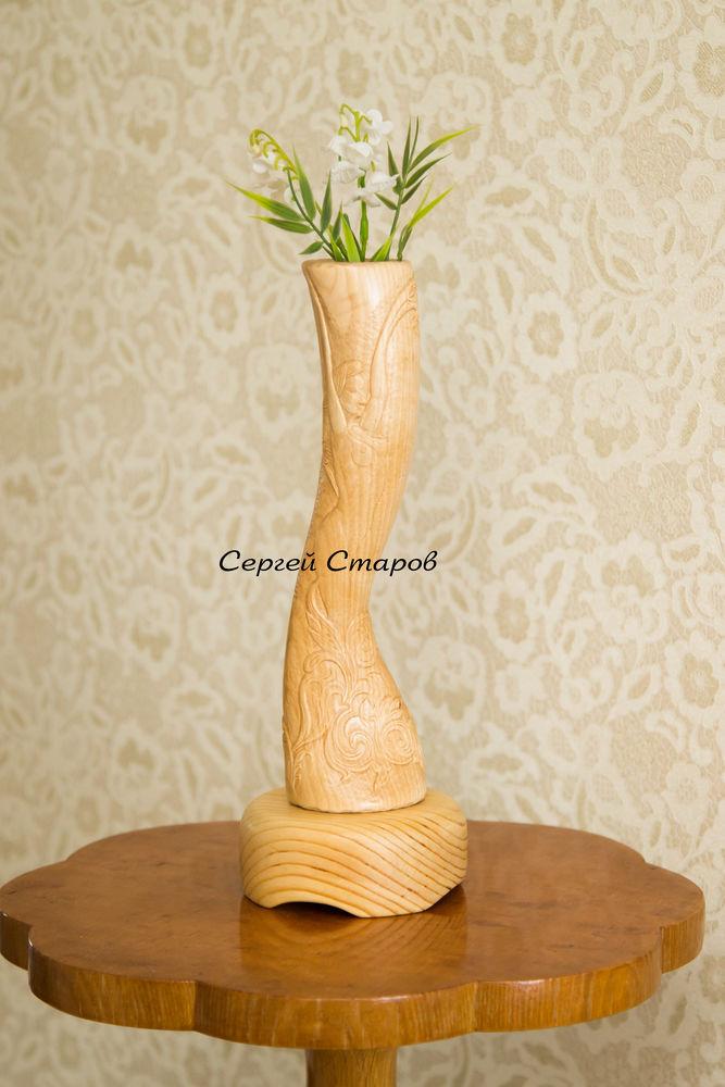 акция, ваза декоративная, резьба по дереву, ручная работа из дерева