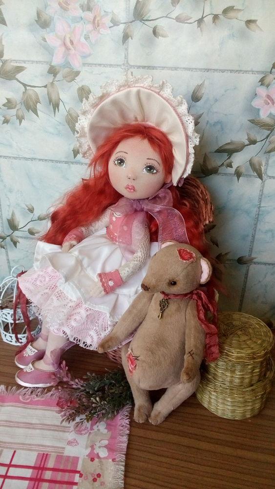 рыжая кукла, текстильные куклы