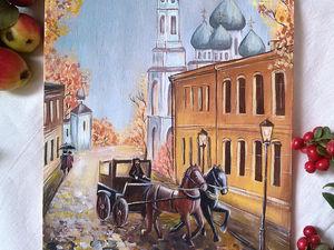 Декор разделочной доски «Золотая осень в городе». Ярмарка Мастеров - ручная работа, handmade.