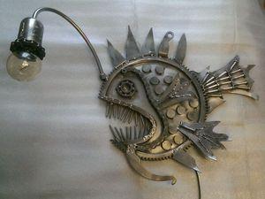 """Создаем ресайкл арт светильник """"Рыба-удильщик"""". Ярмарка Мастеров - ручная работа, handmade."""