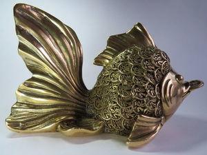 Золотая Рыбка с монеткой, статуэтка денежный Фэн шуй. Ярмарка Мастеров - ручная работа, handmade.
