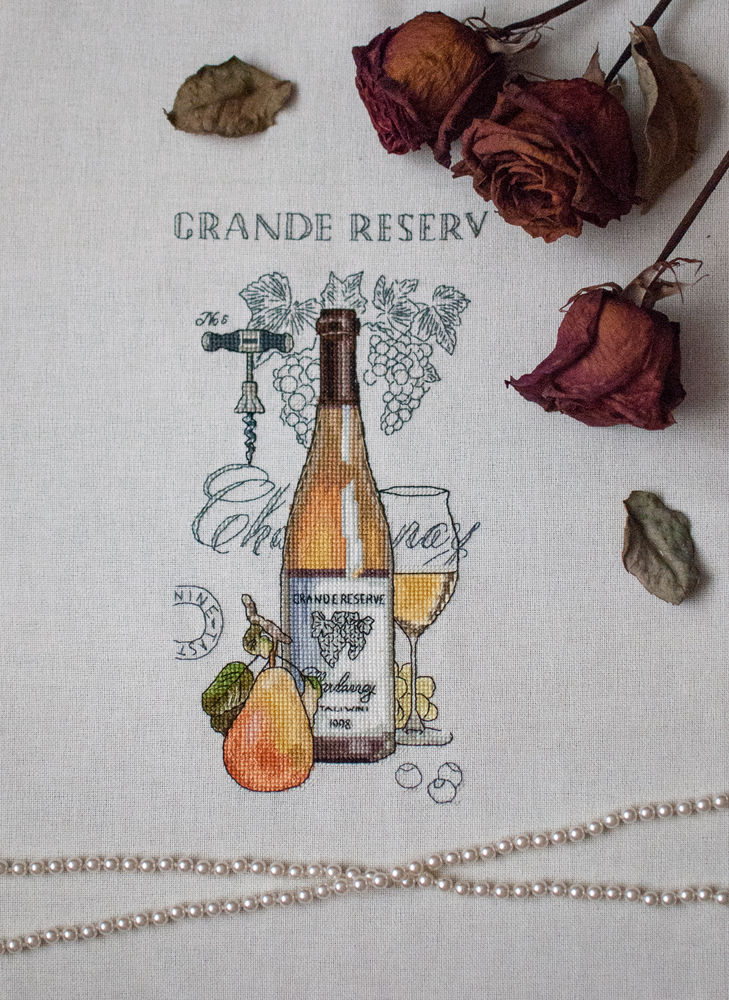 вышивка, вышивка крестиком, натюрморт с вином