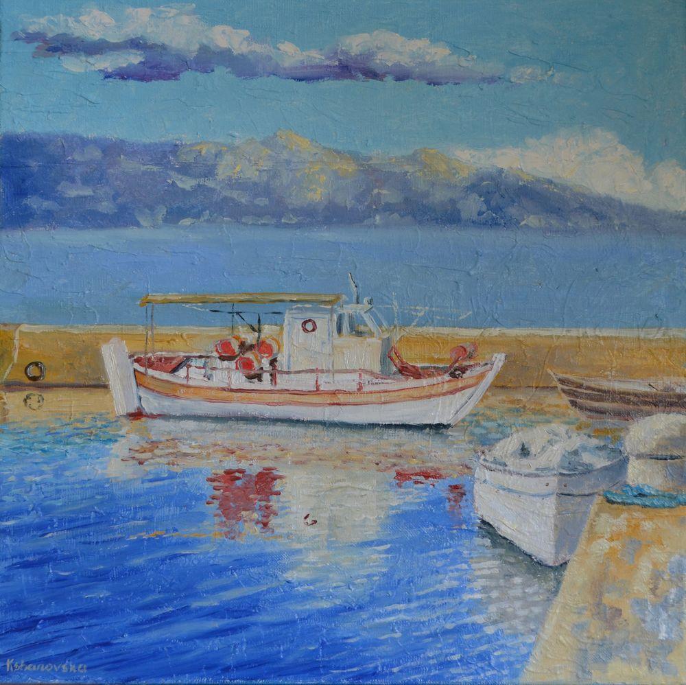 анна кшановская, картина, картину, живопись, масляная живопись, живопись маслом, блогер, блог, лодки, лодки у причала, морской пейзаж, море, картина на холсте, пейзаж, яхты, рыбацкие лодки, горы, лето, причал