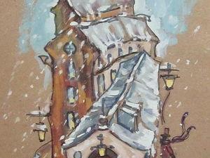 ГРАФИКА, город, 18,5х 6,2 см, художник А. Шуберт. Ярмарка Мастеров - ручная работа, handmade.