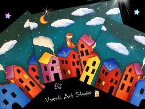 """Акция на Картину-триптих в Детскую """"Волшебный сон лисёнка"""". Ярмарка Мастеров - ручная работа, handmade."""