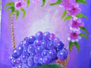 Рисуем гуашью виноград в корзинке. Ярмарка Мастеров - ручная работа, handmade.