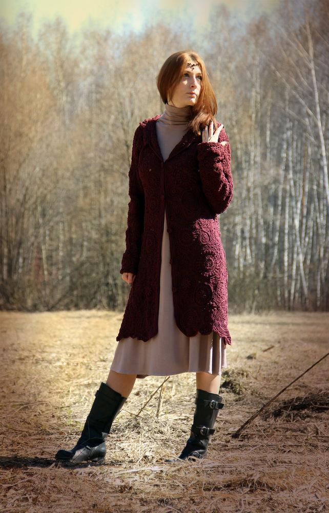 вязание на заказ, пальто с капюшоном, бохо, пальто нарядное