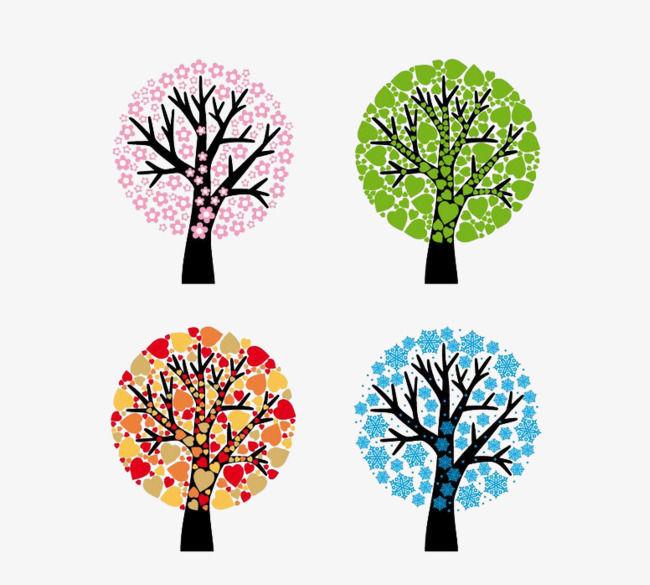 картинки деревьев в разные времена года люди