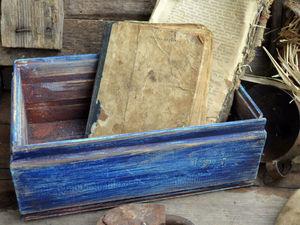 Старый синий  ящик в стиле LOFT   Ярмарка Мастеров - ручная работа, handmade