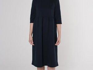 Платье с завышенной талией YOKU, иссиня-черный футер. Ярмарка Мастеров - ручная работа, handmade.