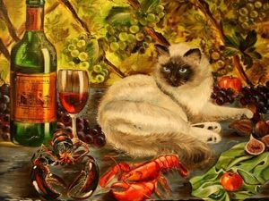 Видеообзор картины Натюрморт с Кошкой. Ярмарка Мастеров - ручная работа, handmade.