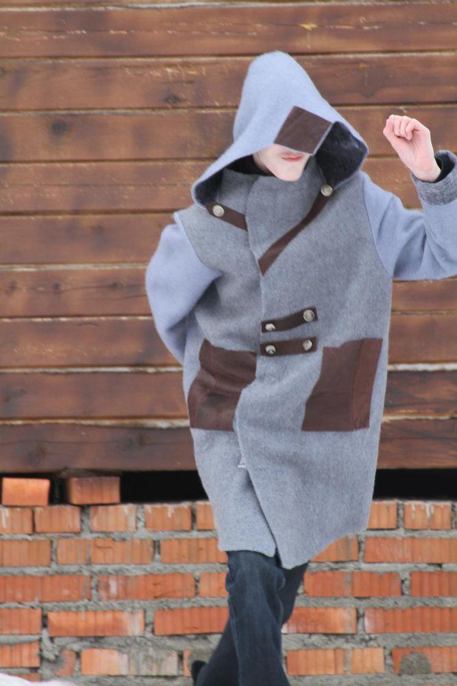 пальто из шерсти, серый цвет