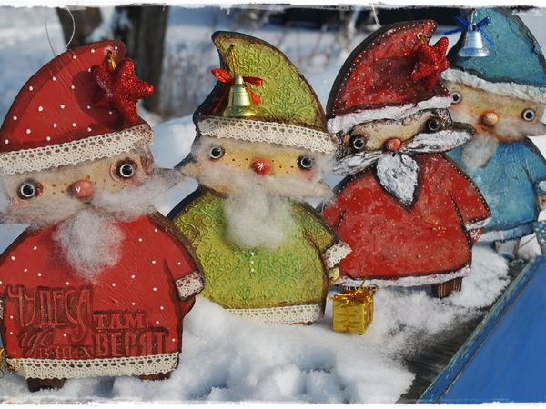 Четыре веселых Дед Морозиков и Снеговик! Новые игрушки | Ярмарка Мастеров - ручная работа, handmade