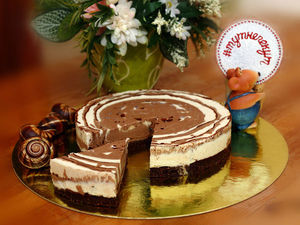 Торт Шоколадная зебра с хрустящим шоколадом внутри. Ярмарка Мастеров - ручная работа, handmade.