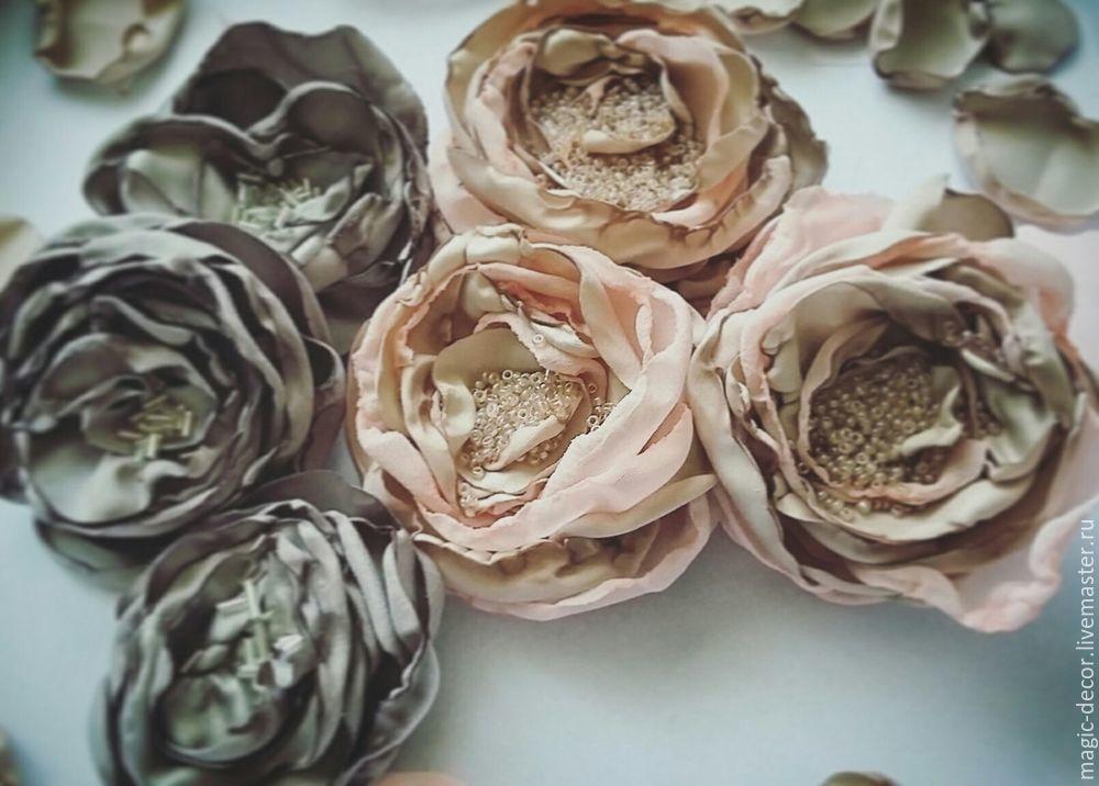 цветы из ткани, цветы в волосы