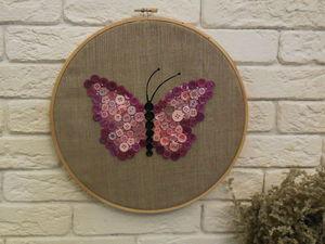 Как сделать панно «Бабочка» из пуговиц. Ярмарка Мастеров - ручная работа, handmade.