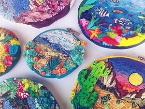 Природное разнообразие: современная вышивка Helene Kardos. Ярмарка Мастеров - ручная работа, handmade.