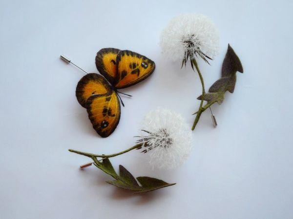 Броши бабочка одуванчики   Ярмарка Мастеров - ручная работа, handmade