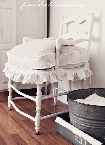 white chair with ruffles