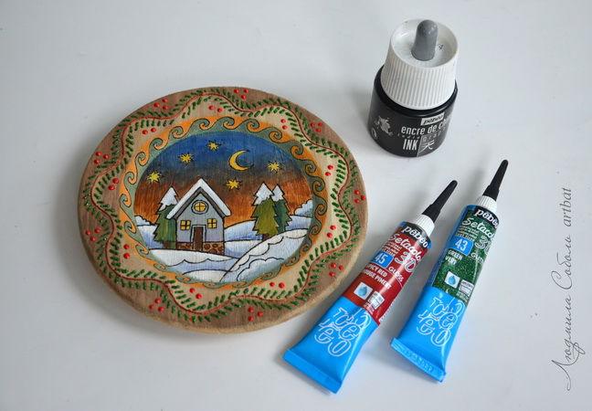pebeo, новогодние сувениры, роспись по дереву