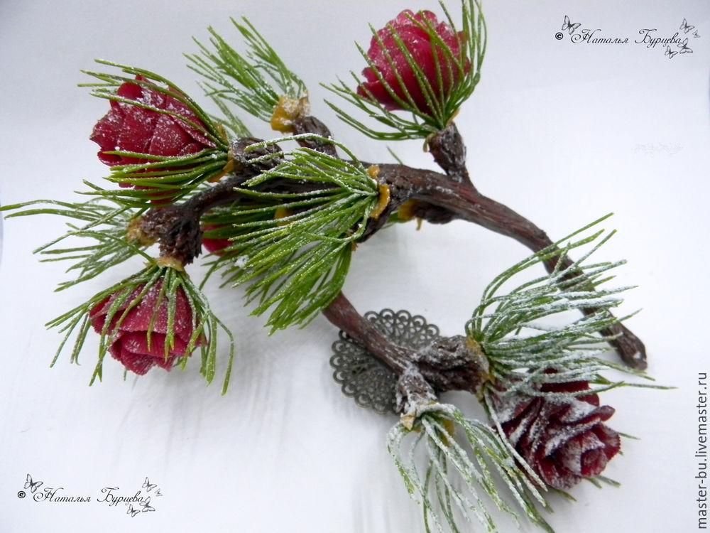 роза, лепка реалистичных цветов, лепка розы, лепка из полимерной глины, уроки лепки, мастер-класс по лепке, полярная роза, лиственница, новый год, украшения ручной работы, украшения с цветами