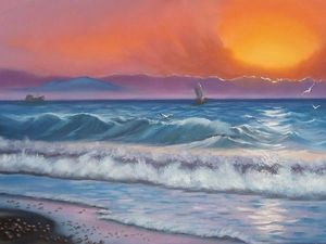 Новая картина маслом - морской пейзаж