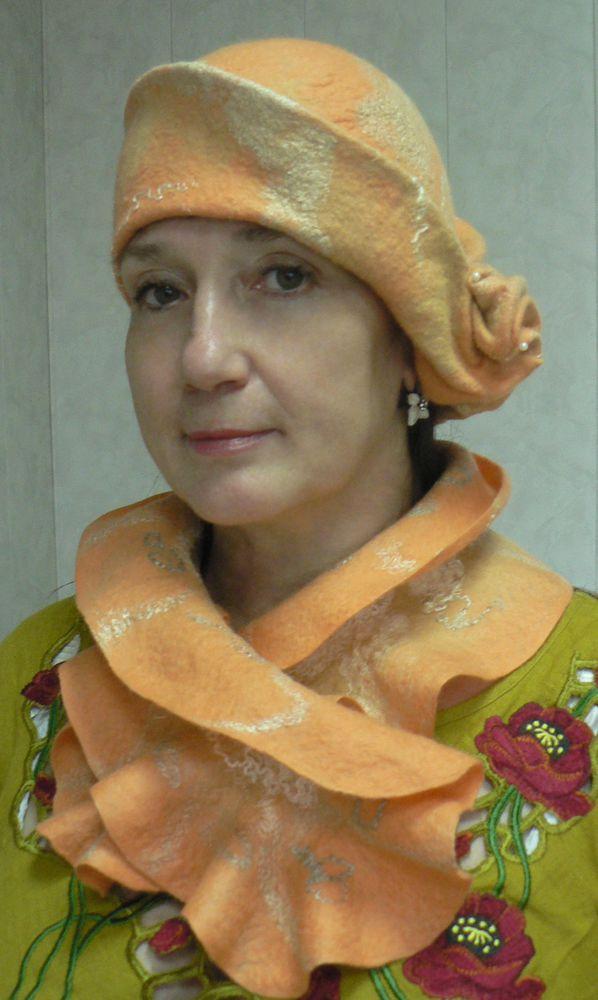 валяние шарфа, цельноваляный капюшон