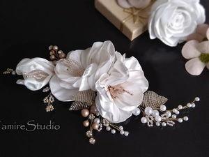 DIY Haircomb with Flowers of Satin Ribbon. Livemaster - handmade