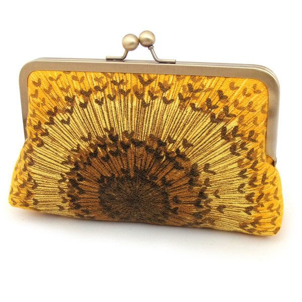 Sunflower clutch silk-lined purse with gift box  liked on Polyvore