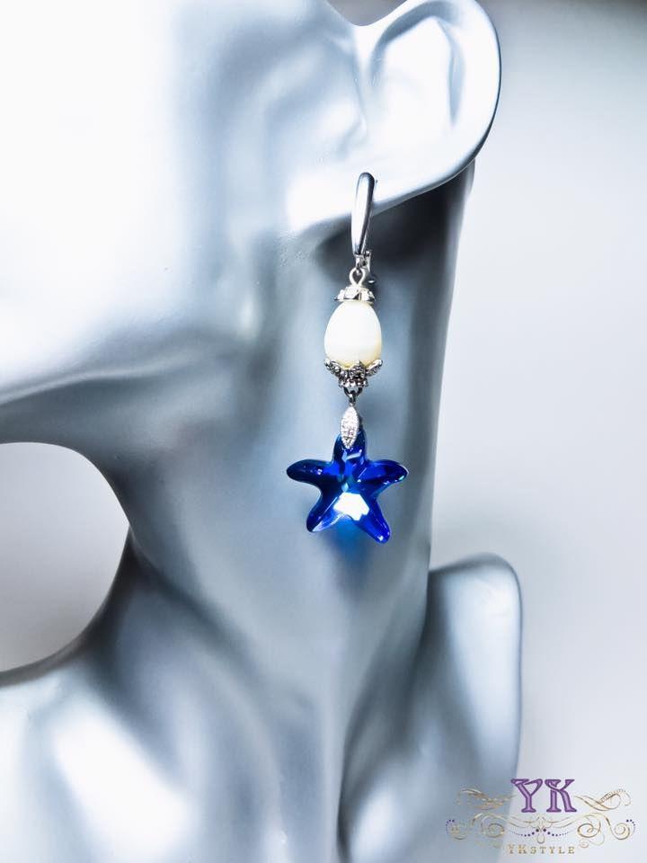 Серьги с речным жемчугом и кристаллами Сваровски.