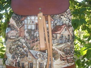 """Сумка-рюкзак из кожи и гобелена """"Голландская деревня""""3, трансформер. Ярмарка Мастеров - ручная работа, handmade."""